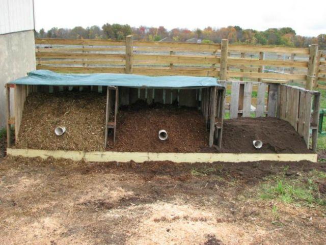 Multiple bin system for composting manure. https://ag.umass.edu/fact-sheets/composting-horse-manure